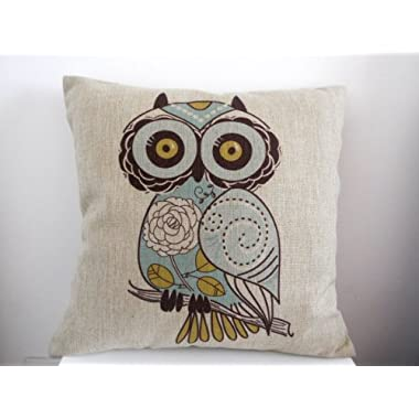HOSL Blending Linen Square Decorative Throw Pillow Case Cushion Cover Cartoon Green Cute Cartoon Owl 18  X18