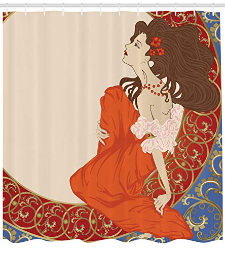 Ambesonne Art Nouveau Shower Curtain, Antique Woman in an Old Fashioned Medieval Dress Floral Rich Framework Print, Cloth Fabric Bathroom Decor Set with Hooks, 75 inches Long, Cream Orange