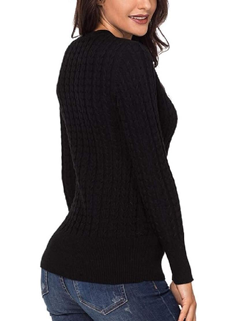 M/&S/&W Womens Long Sleeve V Neck Cable Rib Knit Knitwear Slim Fit Pullover Sweater