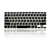 TOP CASE - Arabic/English Letter Silicone Keyboard Cover Skin Compatible with MacBook 13' Unibody/Old Generation MacBook Pro 13' 15' 17' with or Without Retina Display/Wireless Keyboard - Black