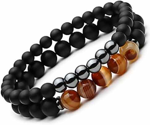 SEVENSTONE 2PCS Black Matte Onyx Prayer Beads Bracelet for Men Women Elastic Natural Stone
