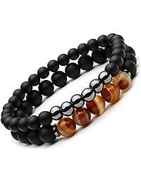 2PCS Black Matte Onyx Prayer Beads Bracelet for Men Women Elastic Natural Stone