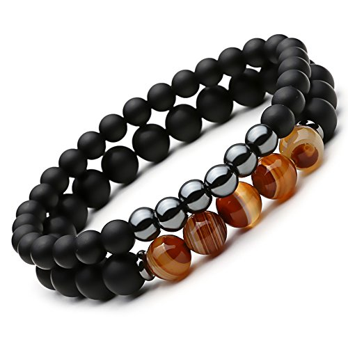 SEVENSTONE 2PCS Black Matte Onyx Prayer Beads Bracelet for Men Women Elastic Natural Stone