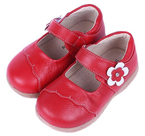 Bumud Girl's Genuine Leather First Walkers Round Toe Princess Dress Mary Jane Flat Shoes(Toddler/Little Kid) (5 M US Toddler, Red) (Shoes Mary Jane Red)