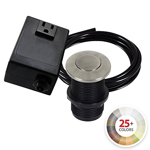 NORTHSTAR DECOR AS010 Single Outlet Garbage Disposal Air Switch Kit. 20+ Finishes to match any Faucet. Compatible with any Garbage Disposal Unit (Pewter) (Pewter Air)