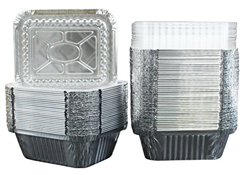 """50 Pack of Disposable Takeout Pans with Clear Lids – 1 Lb Capacity Aluminum Foil Food Containers – Strong Seal for Freshness – Eco-Friendly and Recyclable – 5x4"""" Inch Drip Pans - By MontoPack by MontoPack (Image #5)"""
