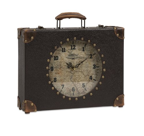"Imax 68171 World Map Suitcase Clock - Vintage inspired faux leather clock opens to allow storage of small items Features include nailhead details and metal hardware Décor measures 12""h x 13""w x 3.5""; battery not included - clocks, bedroom-decor, bedroom - 51wfKUvc29L -"
