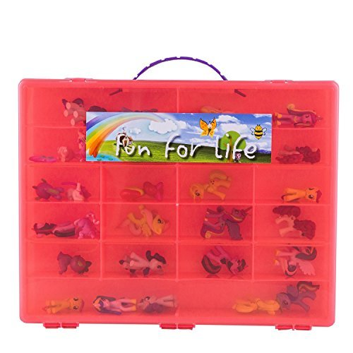 My Little Pony Compatible Organizer Hot Pink- Fun for LifeTM is Pefect Storage Case Fits up to 80 Little Pony Parts by Fun For LifeTM