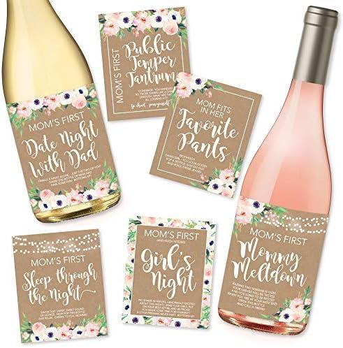 Funny New Mom Gift New Mom Gift Wine Labels New Mom Milestones Baby Shower Gift