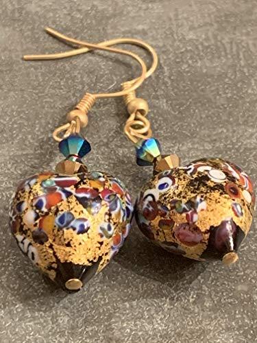 Gold foil Murano Glass Heart Earrings * Swarovski and glass drops * 24k gold multi color Venetian earrings