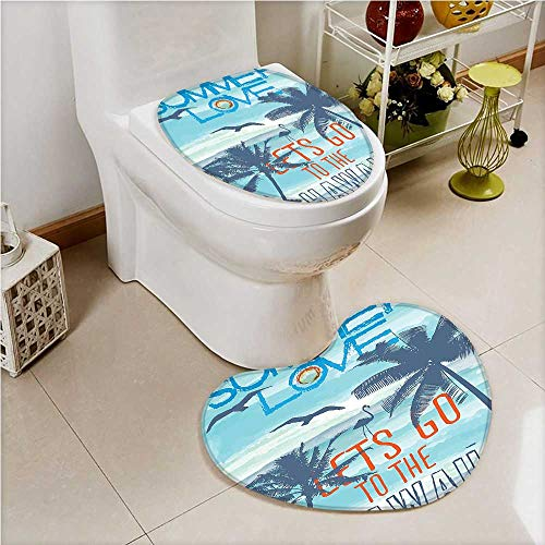 aolankaili 2 Piece Toilet Cover set Lets Go to the Hawaii at Tropical with Walking Flamingos Blue Non-slip Soft Absorbent Heart shaped foot pad by aolankaili