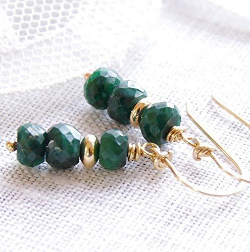 - Emerald Earrings 14kt Gold Filled Green Gemstone Beaded Dangle