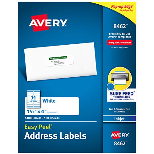 """Avery Address Labels with Sure Feed for Inkjet Printers, 1-1/3"""" x 4"""", 1,400 Labels, Permanent Adhesive (8462)"""