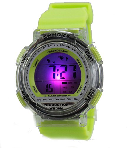 Multi Function Digital LED Water Resistant Sport Watches Green by Tecno Sport