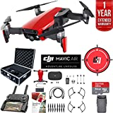 DJI Mavic Air (Flame Red) Drone Combo with Remote Controller Extended Fly Bundle with Hard Case, Dual Battery, Landing Pad, Corel Photo Pro, 64GB High Speed Card and 1 Year Warranty Extension