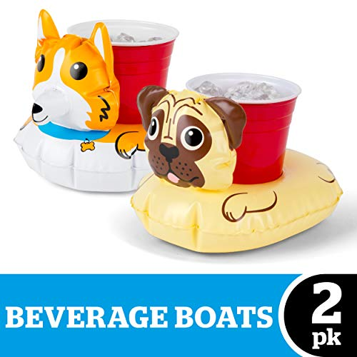 BigMouth Inc. Corgi & Pug Beverage Boats, Cute Floating Drink-Holding Puppers, Inflates Fast and Cleans Easy, 2 Pack