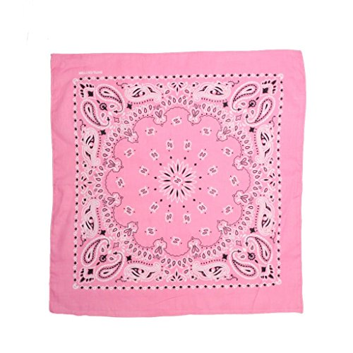 Trainmen Bandana - PD.Creek Trainmen Paisley Bandanas One Dozen 100% Cotton-Light Pink