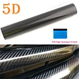 #5: Carbon Fiber Vinyl Wrap 5D High Gloss Bubble Free Air Release Big Texture Sheet Roll Film by PEATOP (60
