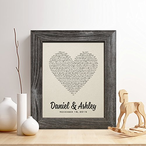 Personalized 2nd Cotton Anniversary Gift For Him Or Her First Dance Song Print Wedding Vow Any Text Gifts Husband And Wife