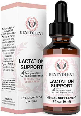 Lactation Supplement Breastfeeding Support Liquid - Breast Milk Supply Increase for Mothers, Organic Drops of Fenugreek Blessed Thistle Goats Rue Herb, 100% Natural 2X Absorption No Alcohol or Sugar