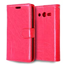 MOONCASE Case for Samsung Galaxy Core LTE 4G G386F Folio Flip Leather Wallet Card Slot and Foldable Stand Feature Pouch Cover Red