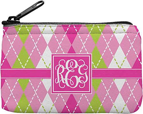 Green Pink And Argyle - Pink & Green Argyle Rectangular Coin Purse (Personalized)
