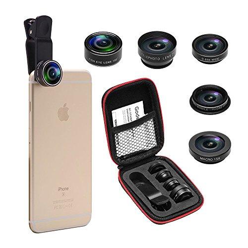 Super Zoom Kit (Godefa Camera Lens Kit, 0.63X Super Wide Angle Lens + 198° Fisheye Lens & 15X Macro Lens +2X Telephoto Lens+ CPL lens, Clip on 5 in 1 Cell Phone Lens for iPhone 8, 7, 6s, 6, 5s & Samsung & Smartphones)