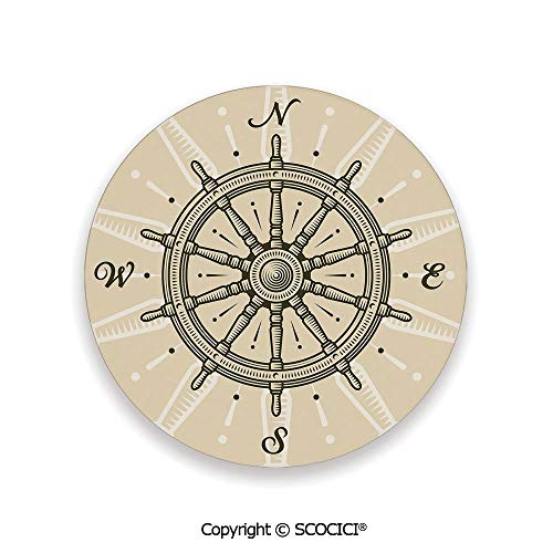 (Ceramic Coasters with Cork Base, Prevent Furniture from Dirty and Scratched, Suitable for Kinds of Mugs and Cups,Ships Wheel Decor,Retro Ship Wheel Antique Sailboat,3.9