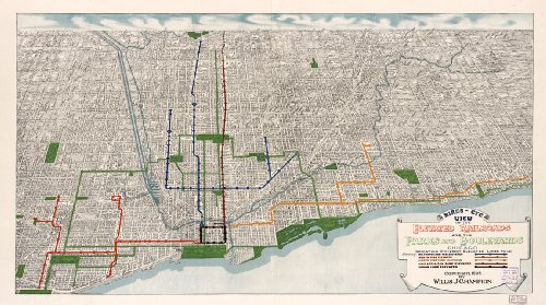 Birds Eye View Map of Chicago L Train circa 1908 - measures 24 high x 42 wide 610mm high x 1067mm wide