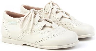 Inglesitos de Charol para Niña y Niño (Unisex) en Color Beig. Marca AngelitoS. Modelo 1505. Calzado Infantil Hecho en España. Número 27: Amazon.es: Zapatos y complementos