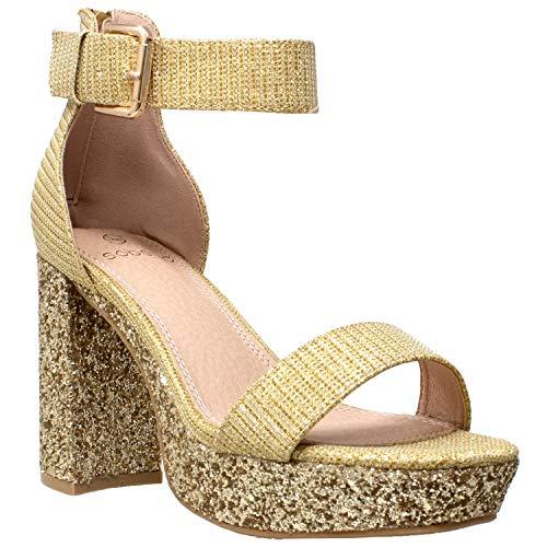 Platform Gold Shoes - Women's High Platform Sandals Ankle Strap Chunky Block Heels Open Toe Shoes Gold SZ 7