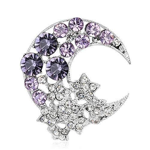 - Blue Moon Rhinestone Crystal Shining Women Bridal Wedding Jewelry Brooches PinJG | Color - Purple