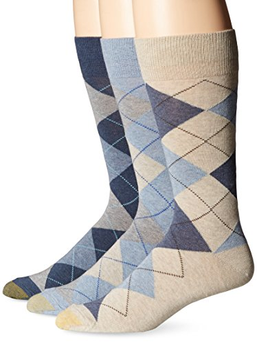 Gold Toe Men's 3-Pack Carlyle Argyle Crew Sock Chambray/Oatmeal Heather/Denim Shoe Size: 6 - ()