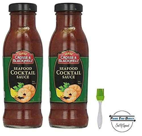 Crosse & Blackwell Seafood Cocktail Sauce, 12 oz (Pack of 2) with Silicone Basting Brush in a Prime Time Direct Sealed Bag