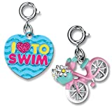 CHARM IT! Outdoor Fun Pink Bicycle and Love To Swim 2 Charm Add On Se