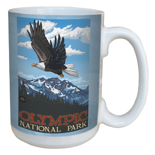 Bald Eagle Mug - Tree-Free Greetings lm43253 Patriotic Olympic National Park Bald Eagle Soaring by Paul A. Lanquist Ceramic Mug, 15-Ounce, Multicolored