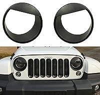 Icegirl Angry Bird Headlight Cover Bezels for Jeep Wrangler JK Rubicon Sahara 2 & 4 Door 2007-2017 Black (headlight cover)