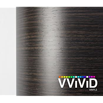 VViViD Ebony Dark Wood Grain Faux Finish Textured Vinyl Wrap Film for Home Office Furniture DIY Easy to Install No Mess 17.75 Inch x 48 Inch