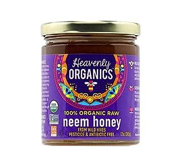 Heavenly Organics 100% Organic Raw Neem Honey (12oz) Lightly Filtered to  Preserve Vitamins,