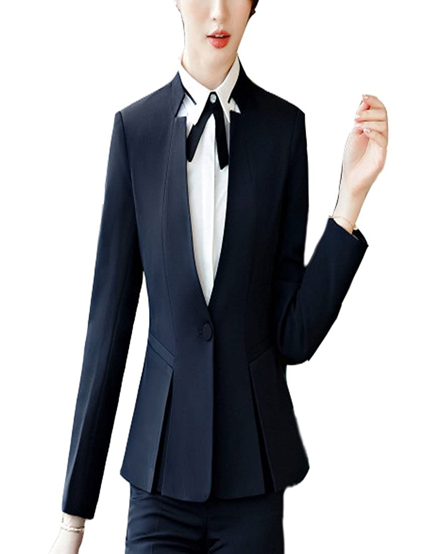 bluee(blazer Only) MFrannie Women V Neck Long Sleeved Suit Jacket and Skirt 2 Pieces Blazer