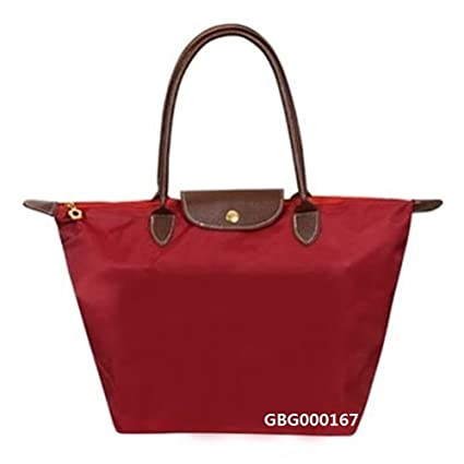 1302409ddf Women Fashion Big long handle Foldable Nylon WaterProof Tote travel  Shopping Bag Handbag shoulder bag Buy 1 get 1 makeup bag free (Burgundy)   Amazon.ca  ...
