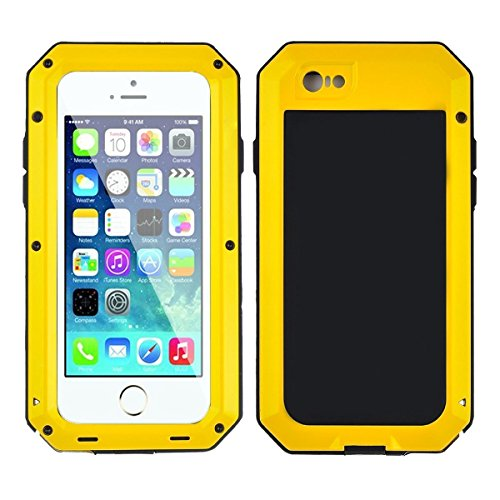 iPhone 6/6S Case,Mangix Gorilla Glass Luxury Aluminum Alloy Protective Metal Extreme Shockproof Military Bumper Finger Scanner Cover Shell Case Skin Protector for Apple iPhone 6/6S 4.7inch (Yellow)