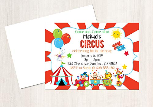 Circus Invitation, Circus Party, Circus Birthday, Circus Invite, 25 Invitations with Envelopes, 4x6 Invitation ()
