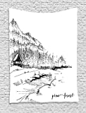 THndjsh Sketchy Tapestry, View of Pine Forest by the Lake with Mountains in Rural Countryside Nature Scenery, Wall Hanging for Bedroom Living Room Dorm, 60 W X 80 L Inches, Black White