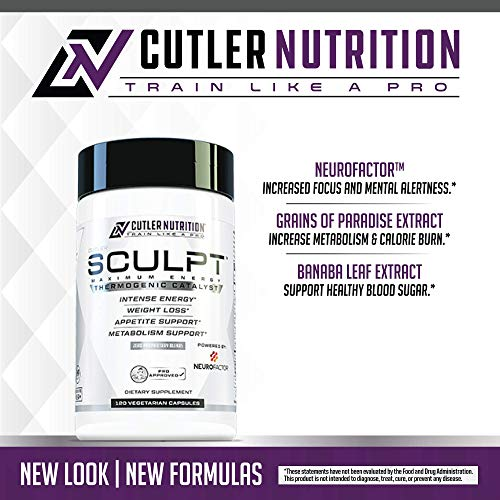 SCULPT Fat Burner Diet Pills: Best Weight Loss Energy Pills and Maximum Strength Thermogenic Metabolism Booster for Fast Weight Loss with Acetyl L Carnitine and Grains of Paradise, 120 Veggie Capsules by Cutler Nutrition (Image #1)