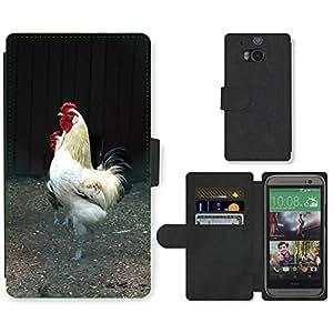 PU LEATHER case coque housse smartphone Flip bag Cover protection // M00130731 Cock Tom Peine doméstica Fowl La // HTC One M8