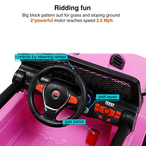 Uenjoy Electric Kids Ride On Cars 12V Battery Motorized Vehicles W/ Wheels Suspension, Remote Control, Music& Story Playing, Colorful Lights, Sunshine Model, Pink by Uenjoy (Image #2)