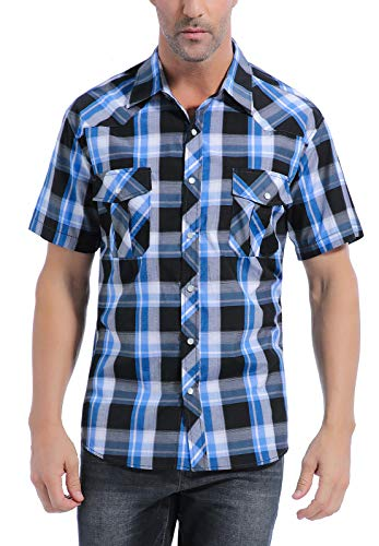 (Coevals Club Men's Button Down Plaid Short Sleeve Work Casual Shirt (Black & Blue #19,)