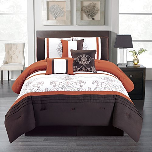WPM 7 Pieces Complete Bedding Ensemble Brown Rust print Luxury Embroidery Comforter Set Bed-in-a-bag Bedding-Linda (Queen) (Complete Ensemble Queen Bed)