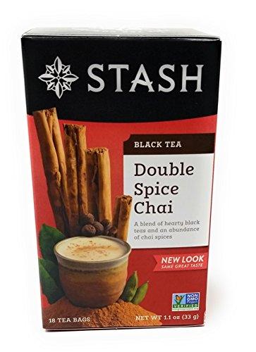 Stash Tea Double Spice Chai Black Tea, 18 Count Tea Bags in Foil (Pack of 2) Double Spice Chai Tea